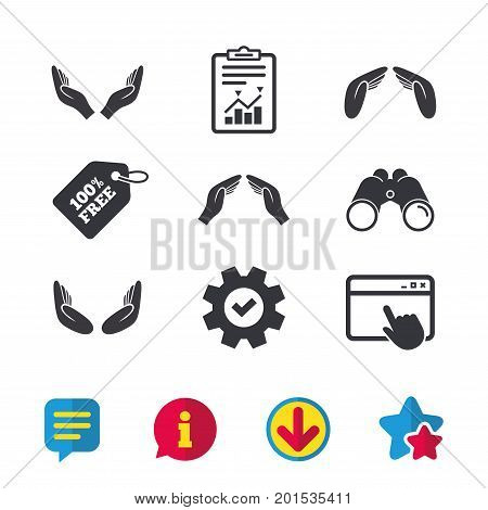 Hands icons. Insurance protection signs. Human helping donation hands. Prayer meditation hands sybmols. Browser window, Report and Service signs. Binoculars, Information and Download icons. Vector