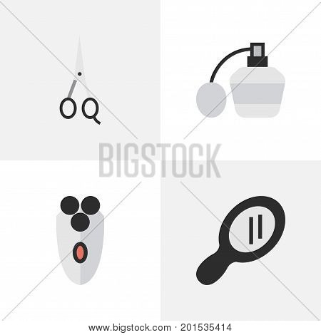 Elements Glass, Scissors, Shaving Machine And Other Synonyms Perfume, Scissors And Machine.  Vector Illustration Set Of Simple Hairdresser Icons.