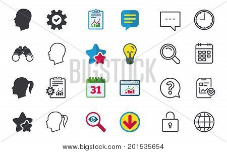 Head icons. Male and female human symbols. Woman with pigtail signs. Chat, Report and Calendar signs. Stars, Statistics and Download icons. Question, Clock and Globe. Vector