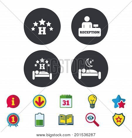 Five stars hotel icons. Travel rest place symbols. Human sleep in bed sign. Hotel check-in registration or reception. Calendar, Information and Download signs. Stars, Award and Book icons. Vector