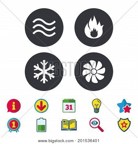 HVAC icons. Heating, ventilating and air conditioning symbols. Water supply. Climate control technology signs. Calendar, Information and Download signs. Stars, Award and Book icons. Vector