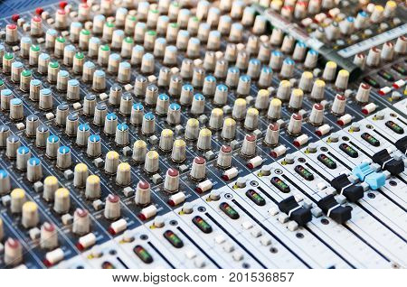 Sound Mixer Control Equipment. Sound Equalizer. Profesional studio equipment for sound mixing. Profesional sound.