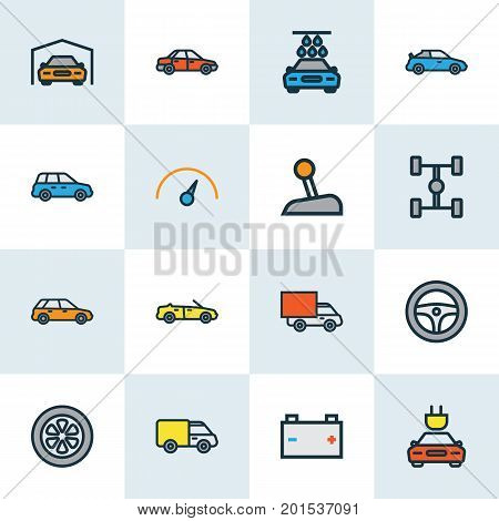 Auto Colorful Outline Icons Set. Collection Of Shed, Level, Washing And Other Elements