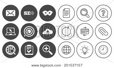 Internet, seo icons. Checklist, target and mail signs. Mask, download cloud and magnifier symbols. Document, Globe and Clock line signs. Lamp, Magnifier and Paper clip icons. Vector