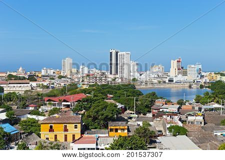 Panorama of Cartagena from San Filipe Castle Colombia. Cartagena de Indias old town in early morning Colombia.