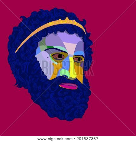 Vector portrait 2 of the ancient king of stylized mosaic