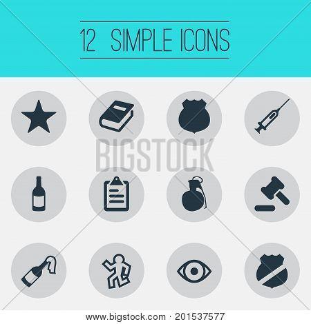 Elements Vision, Bottle, Officer Badge And Other Synonyms Death, Vision And Officer.  Vector Illustration Set Of Simple Crime Icons.