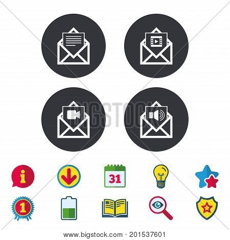 Mail envelope icons. Message document symbols. Video and Audio voice message signs. Calendar, Information and Download signs. Stars, Award and Book icons. Light bulb, Shield and Search. Vector