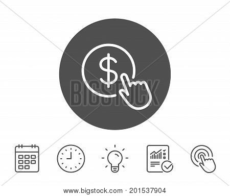 Hand Click line icon. Currency exchange sign. Cursor pointer symbol. To pay or get money. Report, Clock and Calendar line signs. Light bulb and Click icons. Editable stroke. Vector