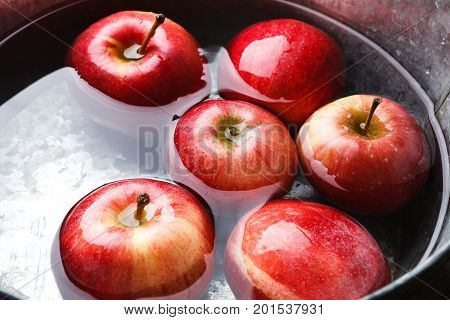 Autumn harvest background. Red ripe apples floating in clean water in metal basin closeup