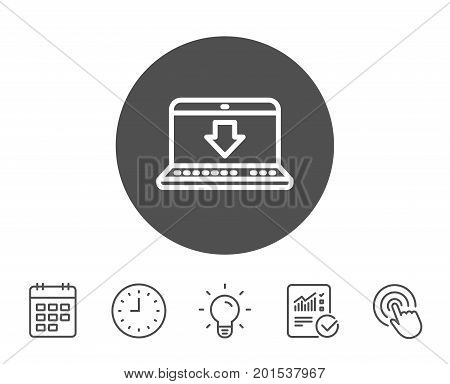 Download line icon. Internet Downloading with Laptop sign. Load file symbol. Report, Clock and Calendar line signs. Light bulb and Click icons. Editable stroke. Vector