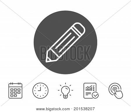 Pencil line icon. Edit sign. Drawing or Writing equipment symbol. Report, Clock and Calendar line signs. Light bulb and Click icons. Editable stroke. Vector