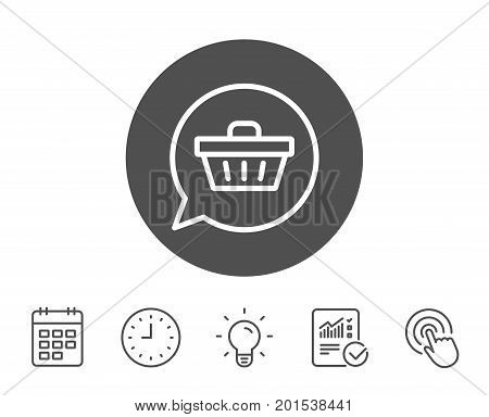 Dreaming of Gift line icon. Present box sign. Birthday Shopping symbol. Package in Gift Wrap. Report, Clock and Calendar line signs. Light bulb and Click icons. Editable stroke. Vector