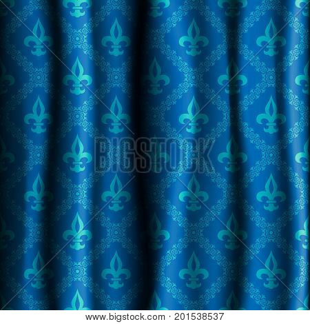 Realistic flower template of a curtain.Blue curtain with a pattern of a royal lily. Vector illustration.