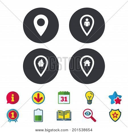 Map pointer icons. Home, food and user location symbols. Restaurant and cupcake signs. You are here. Calendar, Information and Download signs. Stars, Award and Book icons. Vector