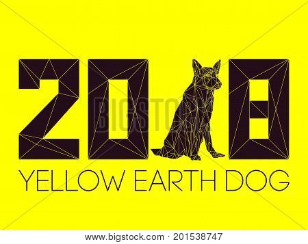 2018 and Dog is symbol of New year, according to Chinese calendar Year Of Yellow Earth Dog. Guard dog German shepherd in polygons style, sitting on hind legs. Pet and guard dog, loyal friend of man