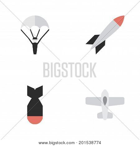 Elements Catapults, Rocket, Bomb And Other Synonyms Plane, Bomb And Parachute.  Vector Illustration Set Of Simple Aircraft Icons.