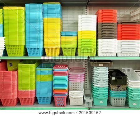 SHAH ALAM MALAYSIA - AUGUST 27 2017: DAISO brand multi-coloured plastic container displayed for sale in DAISO store in SHAH ALAM. DAISO has 2800 stores in Japan and over 1850 stores worldwide.