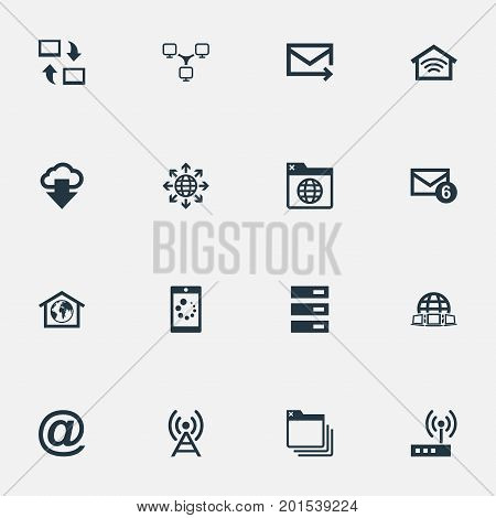 Elements Folder, Datacenter, Router And Other Synonyms Browser, Wireless And Computer.  Vector Illustration Set Of Simple Web Icons.