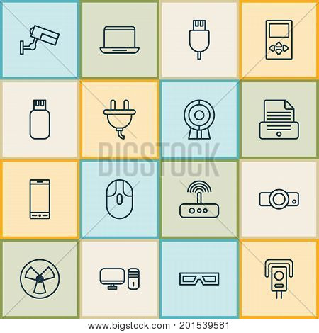 Gadget Icons Set. Collection Of Switch, Universal Serial Bus, Personal Computer And Other Elements