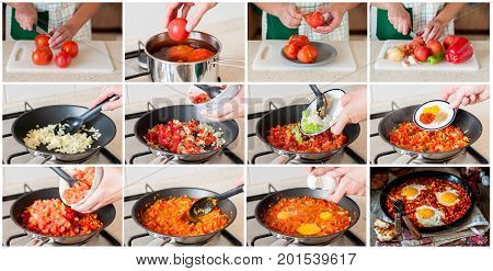 A Step By Step Collage Of Making Shakshouka