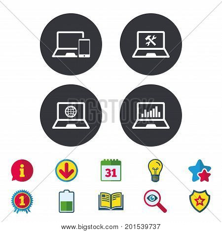 Notebook laptop pc icons. Internet globe sign. Repair fix service symbol. Monitoring graph chart. Calendar, Information and Download signs. Stars, Award and Book icons. Light bulb, Shield and Search