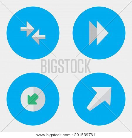 Elements Northwestward, Southwestward, Forward And Other Synonyms Forward, Arrow And Import.  Vector Illustration Set Of Simple Arrows Icons.