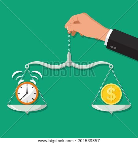 The hand of the businessman holds scales with hours and a coin.Concept time and money.Balance between work and the given time.Vector illustration in flat style.