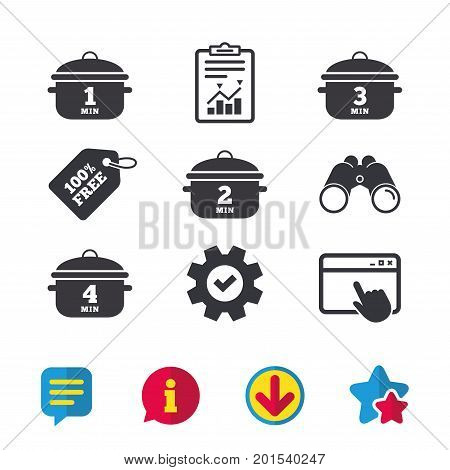 Cooking pan icons. Boil 1, 2, 3 and 4 minutes signs. Stew food symbol. Browser window, Report and Service signs. Binoculars, Information and Download icons. Stars and Chat. Vector