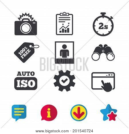 Photo camera icon. Flash light and Auto ISO symbols. Stopwatch timer 2 seconds sign. Human portrait photo frame. Browser window, Report and Service signs. Binoculars, Information and Download icons