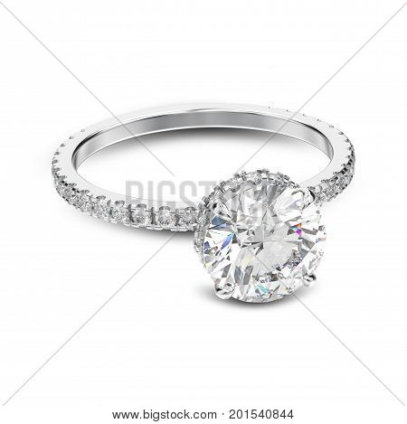 3D illustration white gold or silver traditional engagement ring with diamond with shadow on a white background