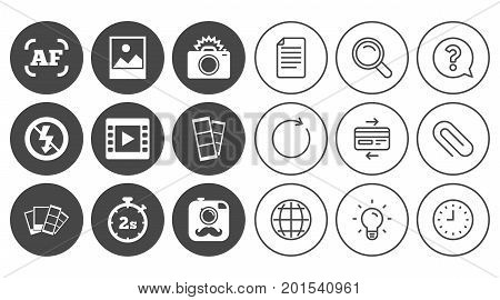 Photo, video icons. Camera, photos and frame signs. No flash, timer and strips symbols. Document, Globe and Clock line signs. Lamp, Magnifier and Paper clip icons. Question, Credit card and Refresh