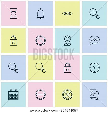 Internet Icons Set. Collection Of Safeguard, Bell, Calendar And Other Elements