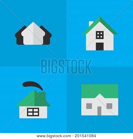 Elements Property, House, Dwelling And Other Synonyms Building, Property And House.  Vector Illustration Set Of Simple Estate Icons.