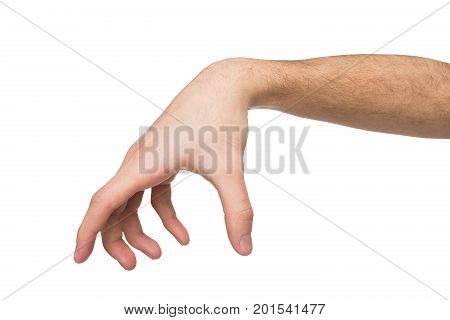 Man hand making gesture while grab some items isolated on white, close-up, cutout, copy space