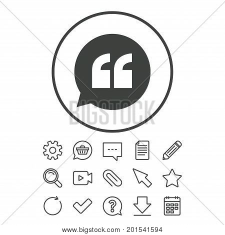 Quote sign icon. Quotation mark in speech bubble symbol. Double quotes. Document, Chat and Paper clip line signs. Question, Pencil and Calendar line icons. Star, Download and Shopping cart. Vector