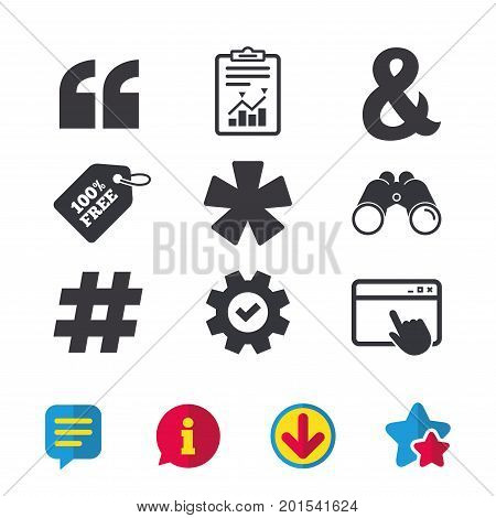 Quote, asterisk footnote icons. Hashtag social media and ampersand symbols. Programming logical operator AND sign. Browser window, Report and Service signs. Binoculars, Information and Download icons