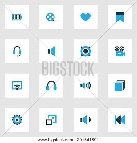 Multimedia Colorful Icons Set. Collection Of Headset, Decrease, Filmstrip And Other Elements