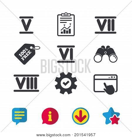Roman numeral icons. 5, 6, 7 and 8 digit characters. Ancient Rome numeric system. Browser window, Report and Service signs. Binoculars, Information and Download icons. Stars and Chat. Vector