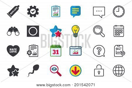 Safe sex love icons. Condom and package symbol. Sperm sign. Fertilization or insemination. Chat, Report and Calendar signs. Stars, Statistics and Download icons. Question, Clock and Globe. Vector