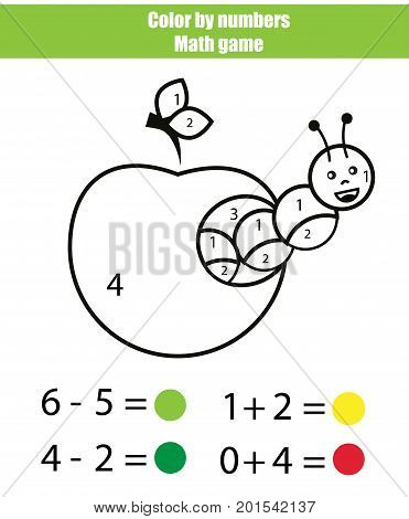Color by numbers. Mathematics game. Coloring page with caterpillar. Learning addition and subtraction