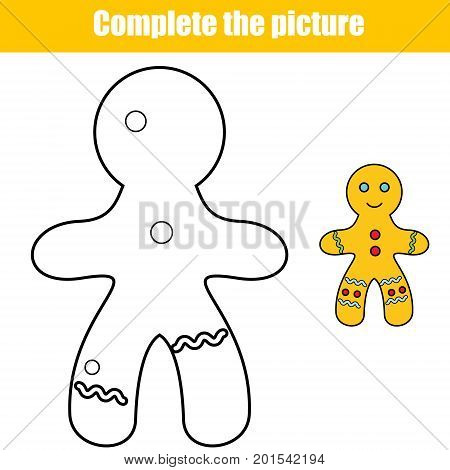 Complete the picture educational children game. Printable toddlers Kids activity sheet with gingerbread man. Winter holidays theme