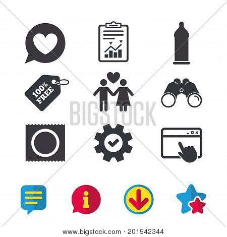 Condom safe sex icons. Lovers couple signs. Male love female. Speech bubble with heart. Browser window, Report and Service signs. Binoculars, Information and Download icons. Stars and Chat. Vector
