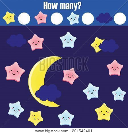 Counting educational children game, kids activity worksheet. How many objects task. Elementary mathematics for toddlers