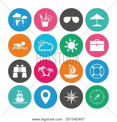 Set of Travel and Cruise icons. Ship, Yacht and Lifebuoy signs. Binoculars, Windrose and Storm symbols. Sun, Swimming and Sunglasses. Colored circle buttons with flat signs. Vector