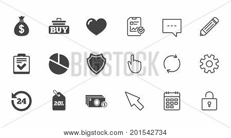 Online shopping, e-commerce and business icons. Checklist, like and pie chart signs. Money bag, discount and protection symbols. Chat, Report and Calendar line signs. Service, Pencil and Locker icons