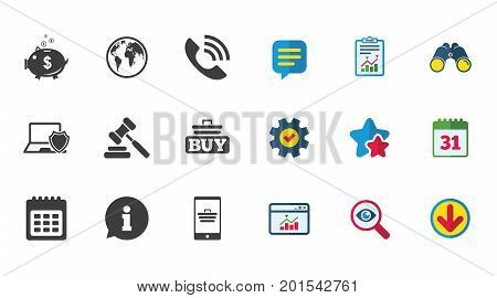 Online shopping, e-commerce and business icons. Auction, phone call and information signs. Piggy bank, calendar and smartphone symbols. Calendar, Report and Download signs. Vector