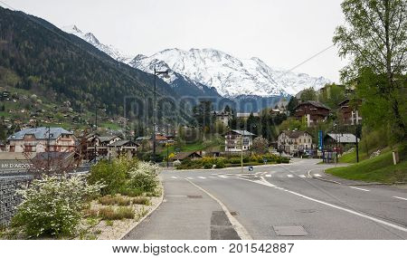 SAINT-GERVAIS-LES-BAINS FRANCE - APRIL 21 2016: Panoramic view of Saint-Gervais-les-Bains and Alps the highest and most extensive mountain range system that lies entirely in Europe