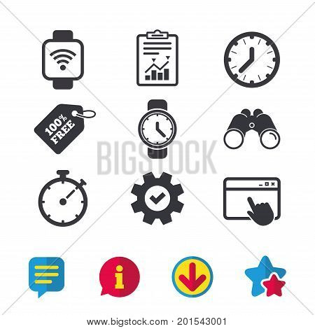 Smart watch wi-fi icons. Mechanical clock time, Stopwatch timer symbols. Wrist digital watch sign. Browser window, Report and Service signs. Binoculars, Information and Download icons. Stars and Chat
