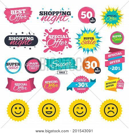 Sale shopping banners. Smile icons. Happy, sad and wink faces symbol. Laughing lol smiley signs. Web badges, splash and stickers. Best offer. Vector